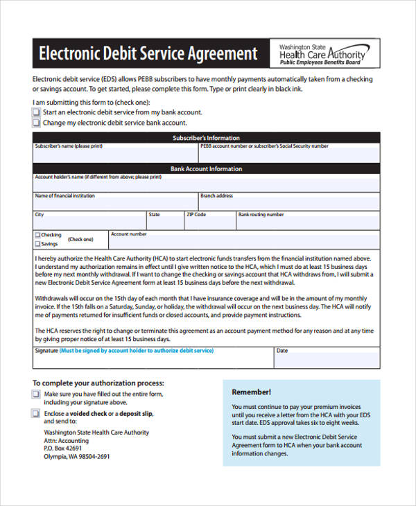electronic debit service agreement form