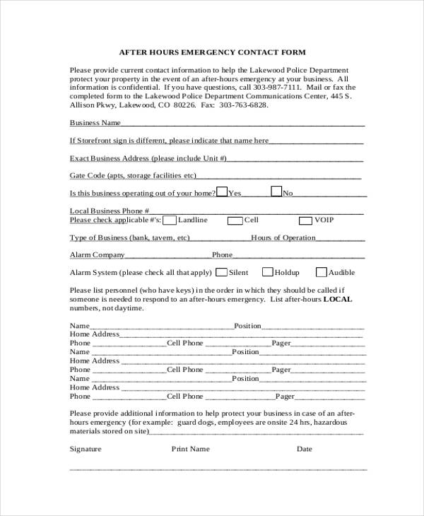 emergency after hours contact form