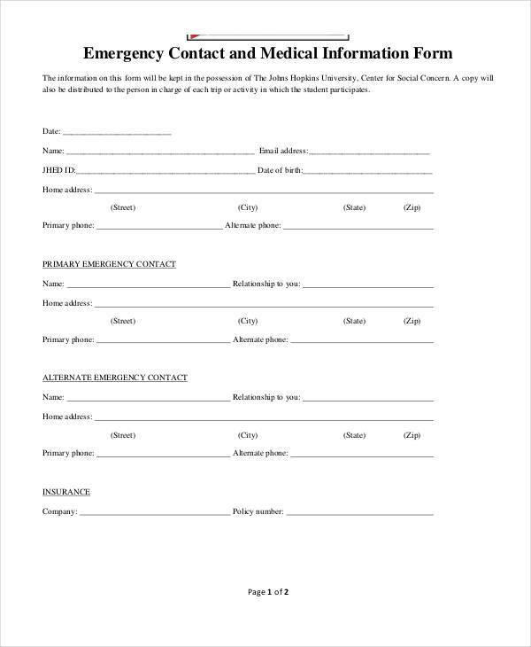 Emergency Contact Medical Form