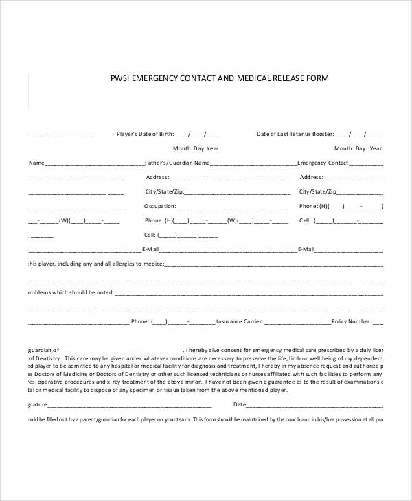 emergency contact medical release form
