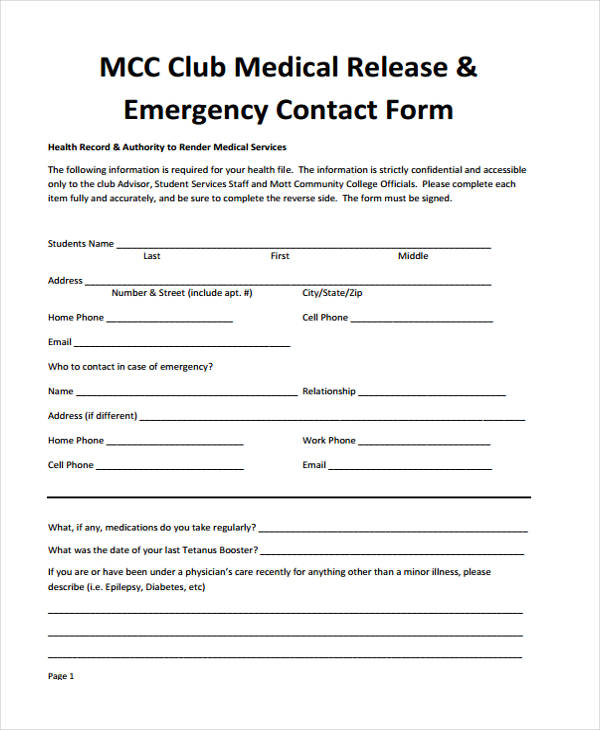 emergency contact medical release form3