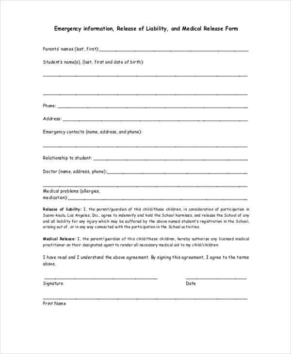 emergency information medical release form