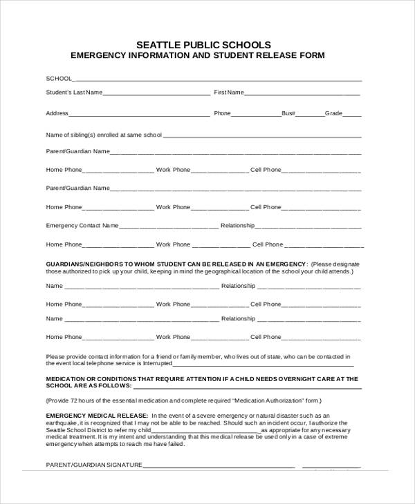 emergency information student release form1