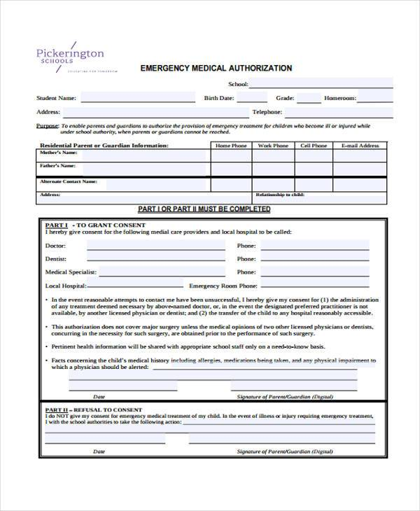emergency medical authorisation form