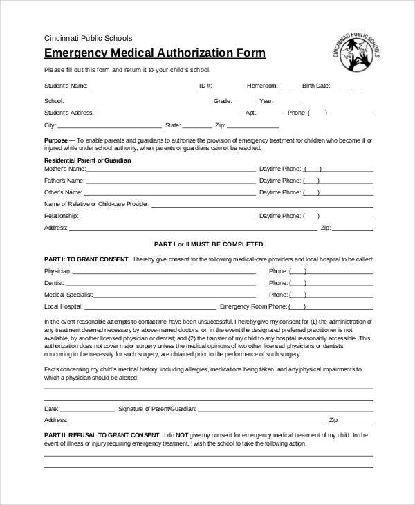 Blank Medical Forms   Free Documents In Word Pdf