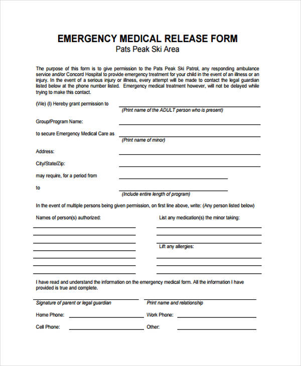 emergency medical care release form
