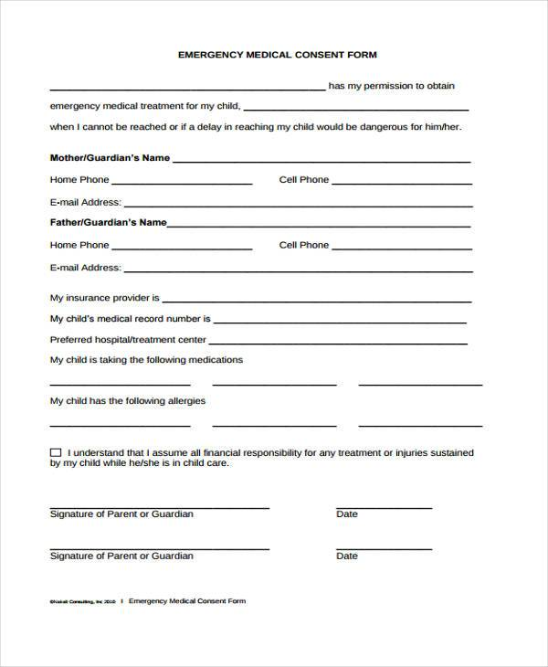 emergency medical concern form
