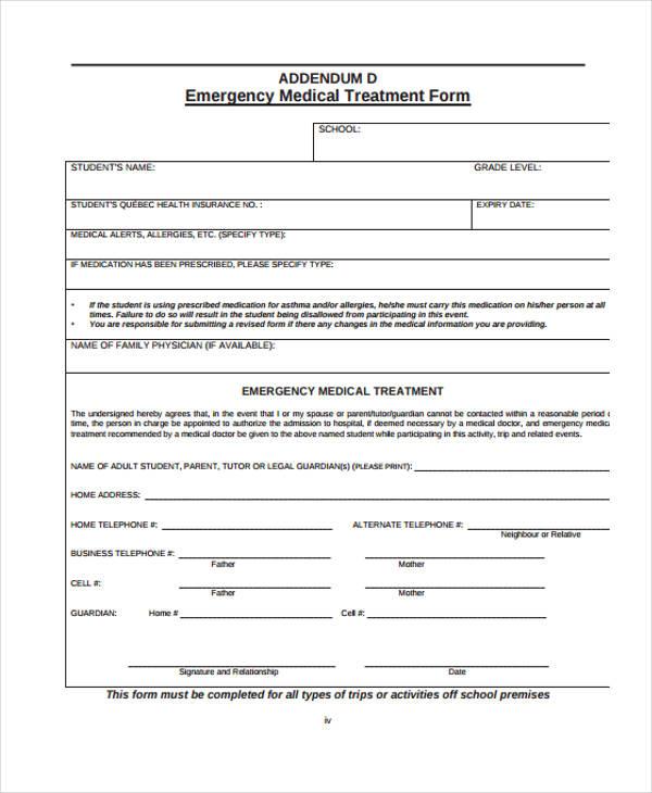 emergency medical form sample