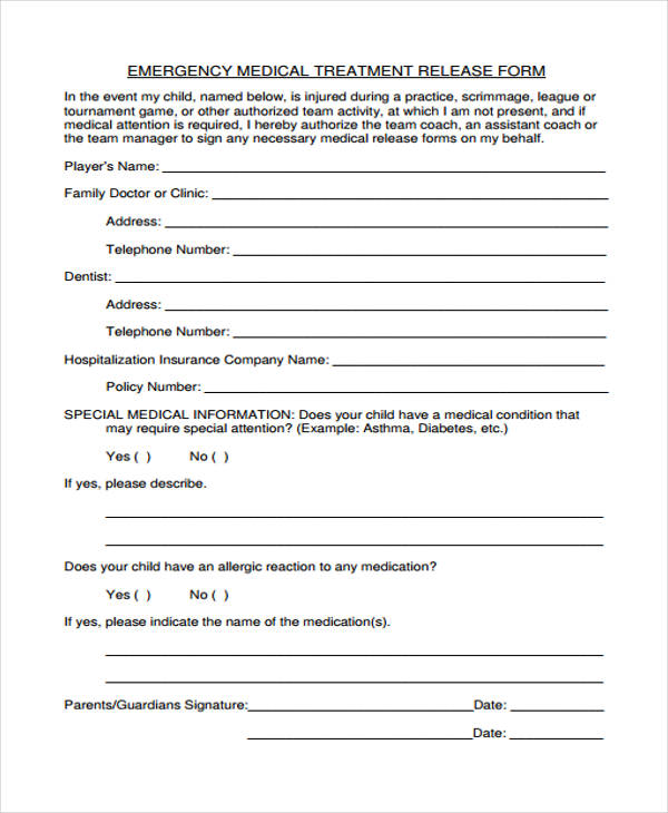 emergency medical treatment release form1