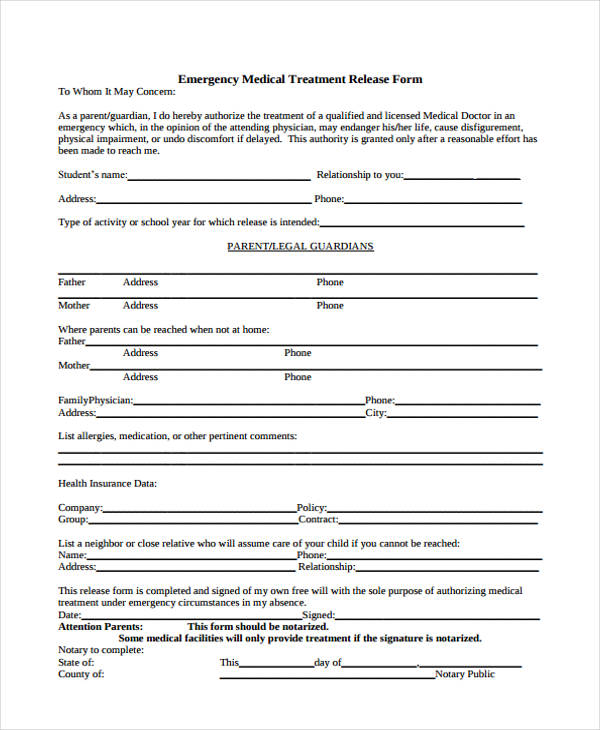 emergency medical treatment release form3