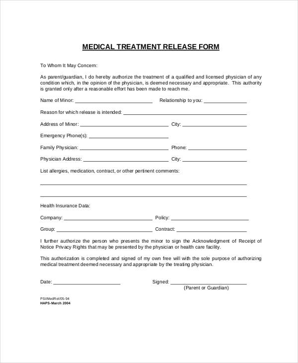 emergency medical treatment release form4