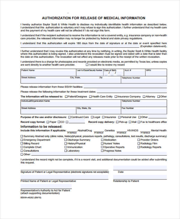 emergency patient release form in pdf