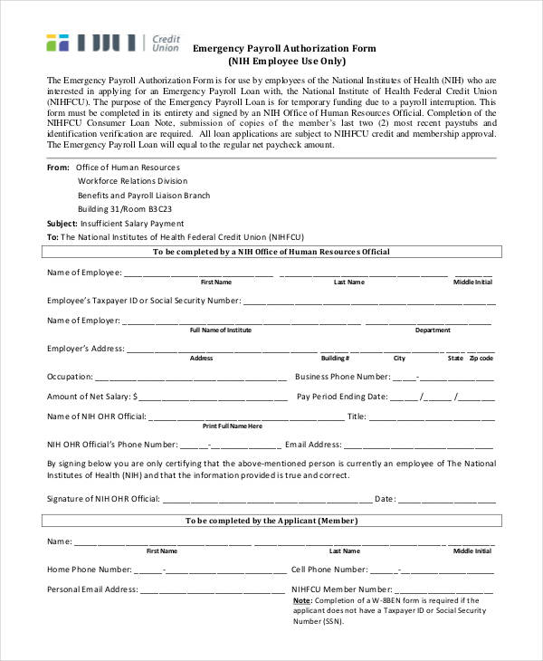 emergency payroll authorization form