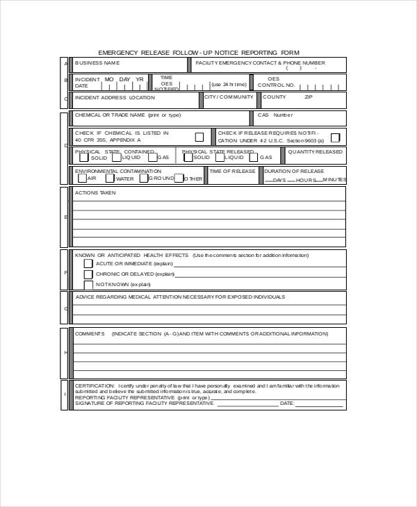 emergency release followup notification form