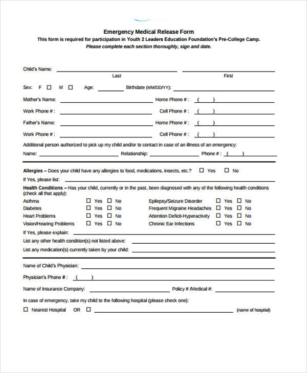 emergency room patient release form
