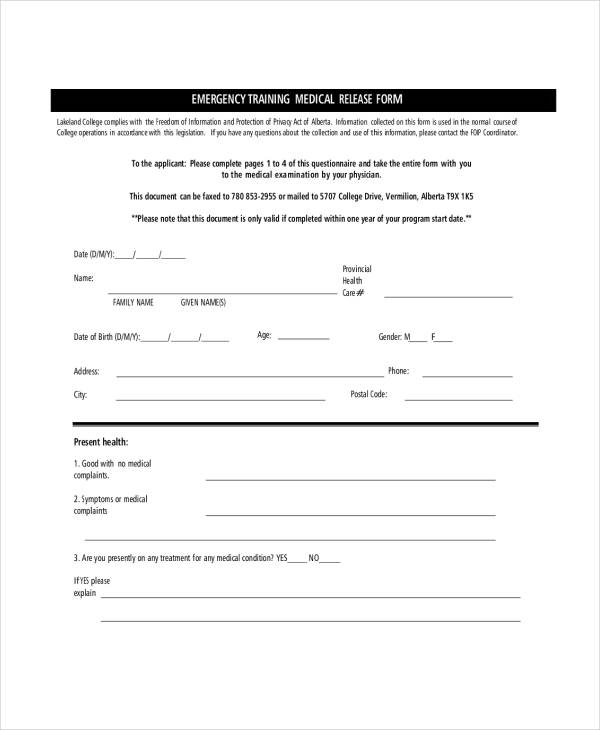 emergency training medical release form