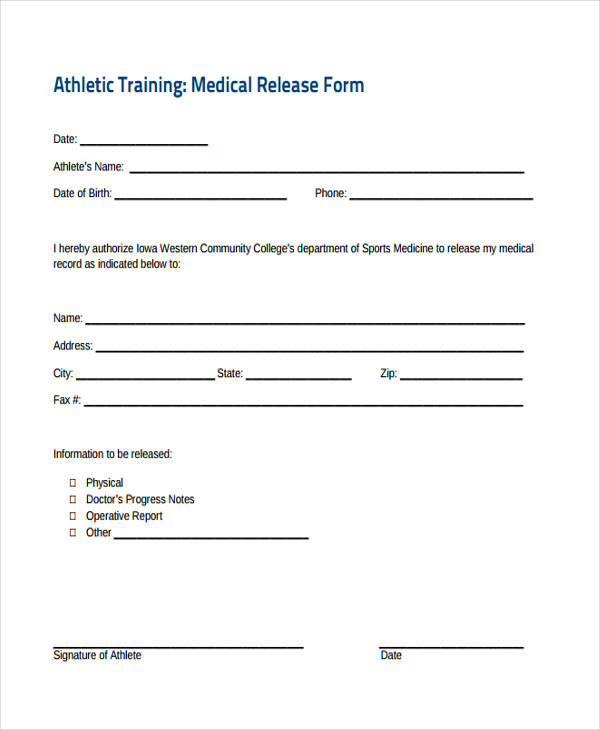 emergency training medical release form3