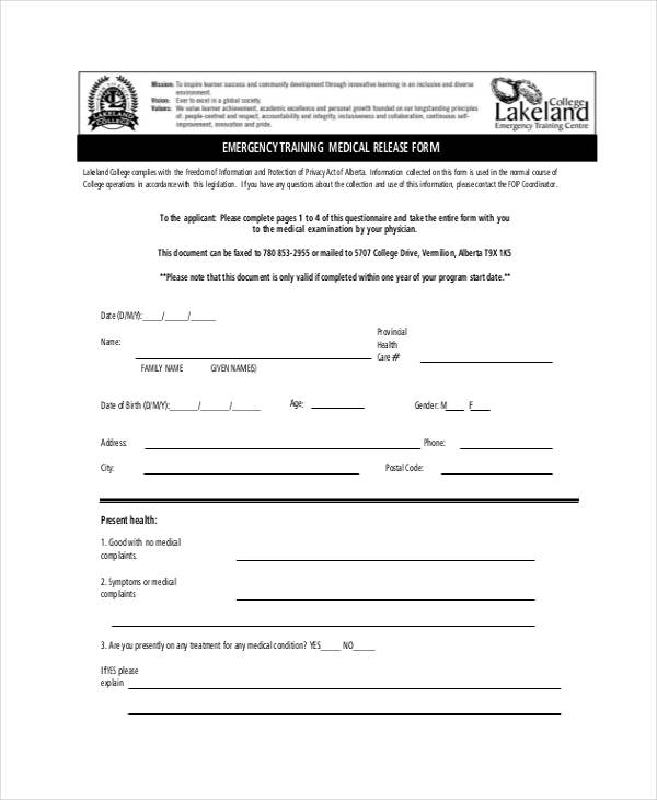 emergency training medical release form4