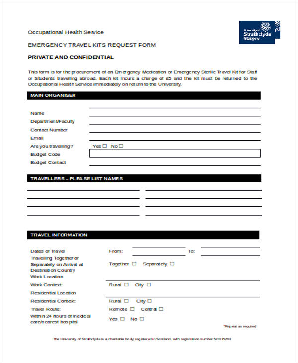 emergency travel kit request form