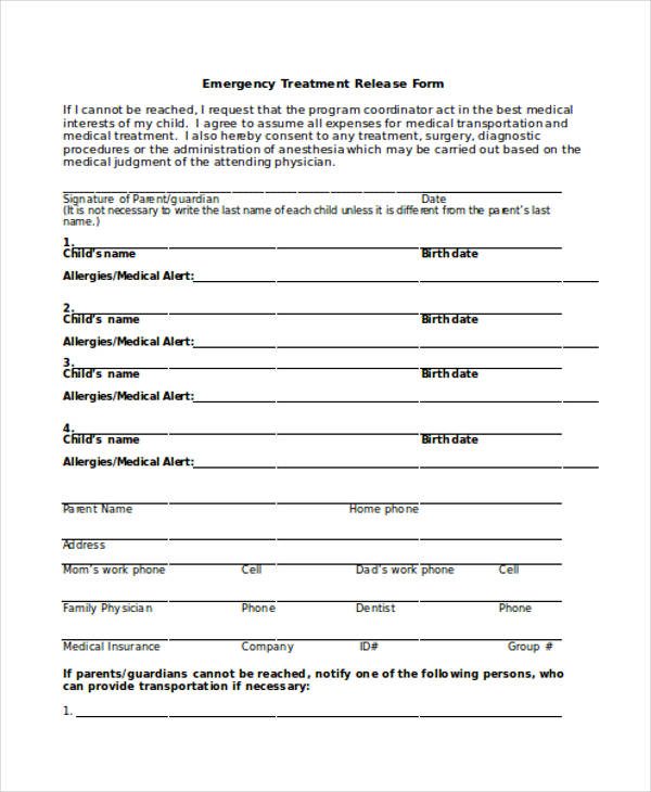 emergency treatment release form