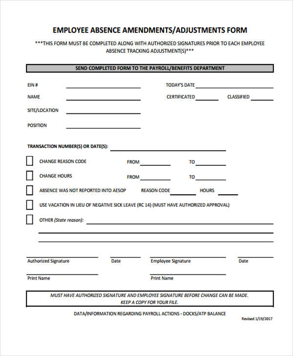 employee absence tracking form