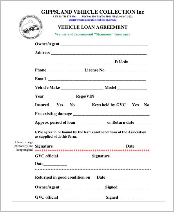 Free loan agreement form for Employee vehicle use agreement template