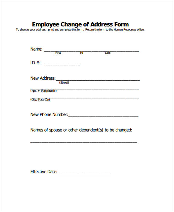 employee change address form