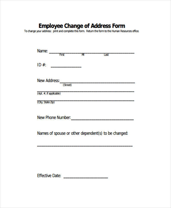 Employee Change Address Form1  Free Change Of Address