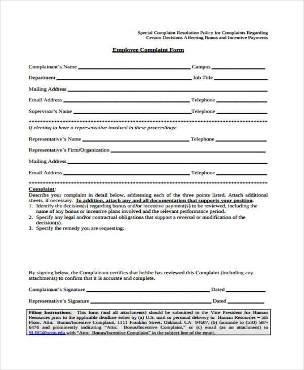 Complaint Form Templates – Employee Complaint Form