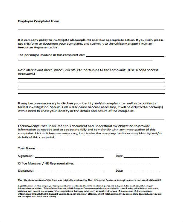employee complaint investigation form