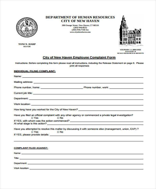 employee complaint investigation form1