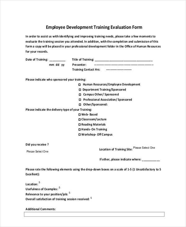 employee development training evaluation form