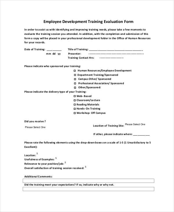 employee development training evaluation form1