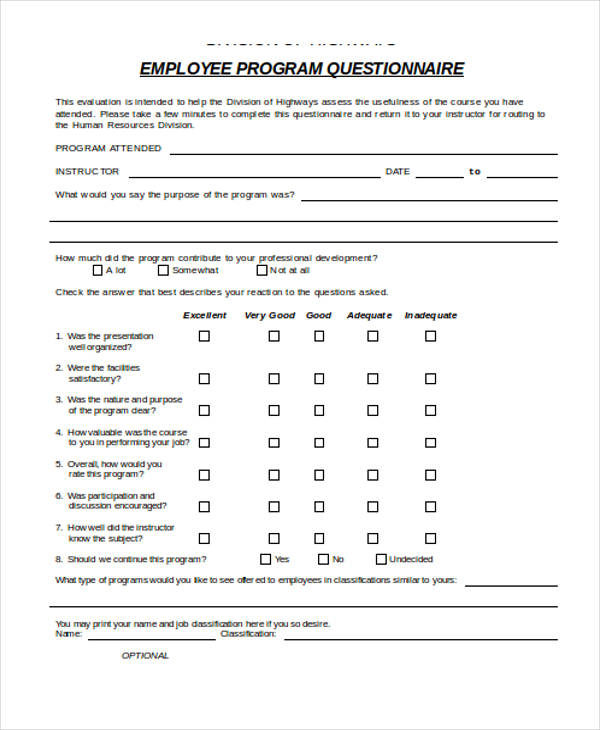 Training Evaluation Form Examples
