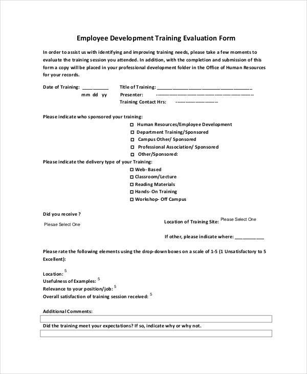 employee development training evaluation form4