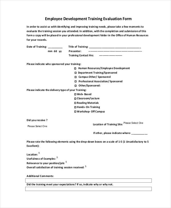 employee development training evaluation form5