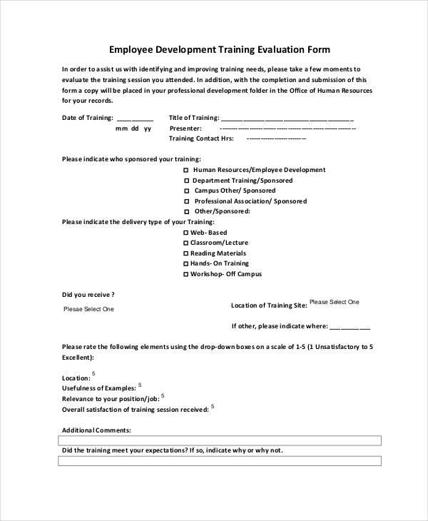 employee development training evaluation form6