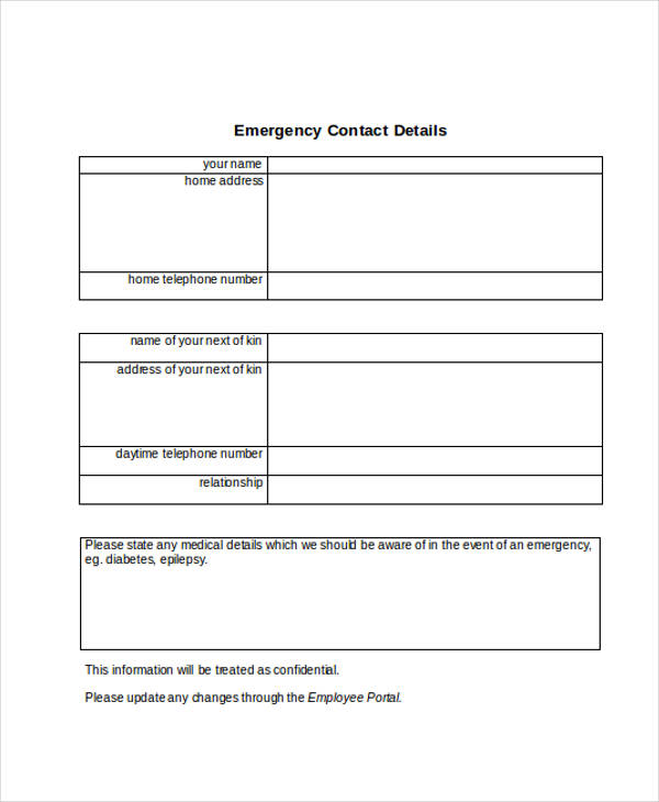 34 emergency contact forms for Next of kin form template uk