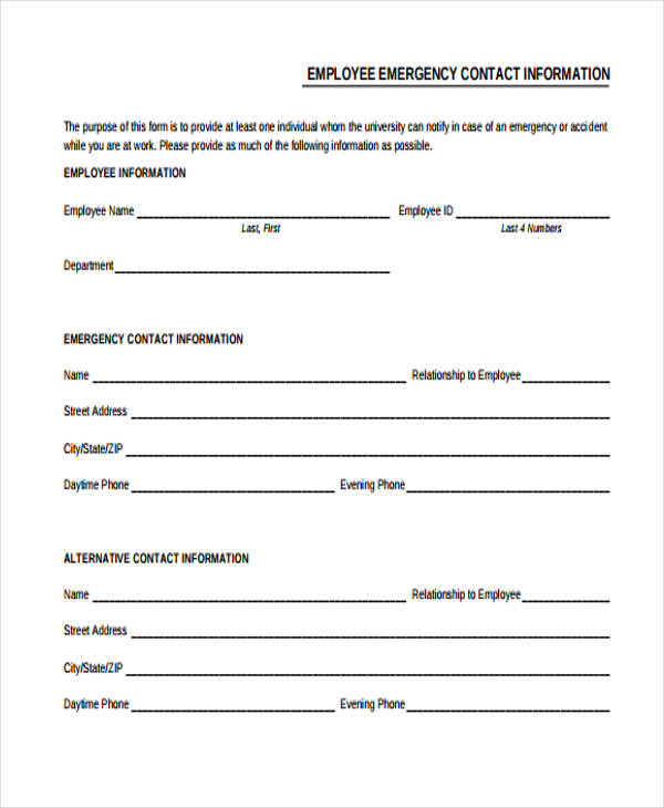 32  emergency contact form example