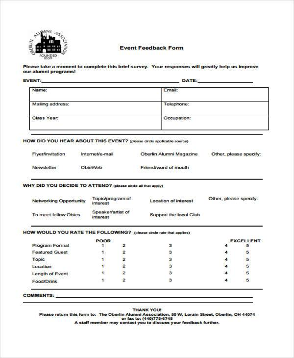 Event Feedback Form In Pdf Overal Feedback Jpg Sample Speaker
