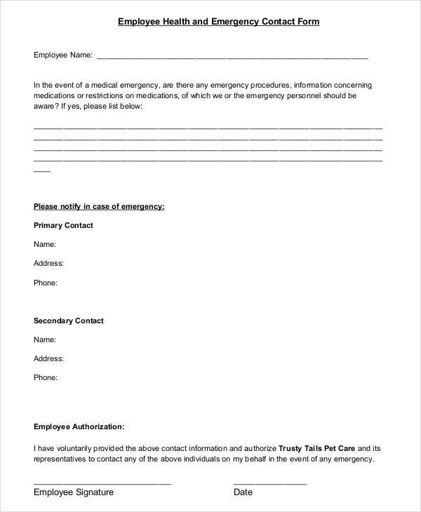 employee health emergency contact form