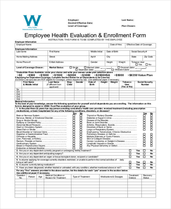 employee health evaluation enrolment form