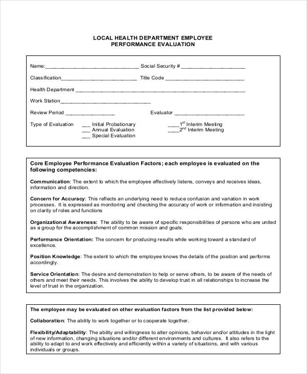 employee health performance evaluation form