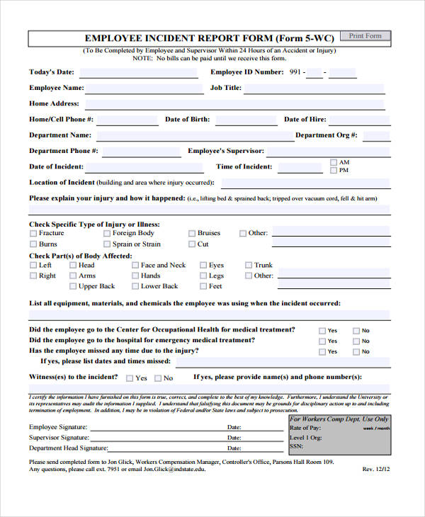 Sample Incident Report Form – Sample Incident Report Form
