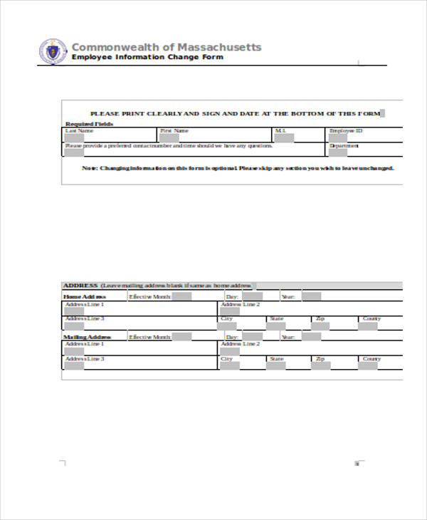employee information change form