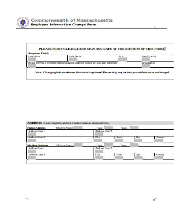 employee information change form