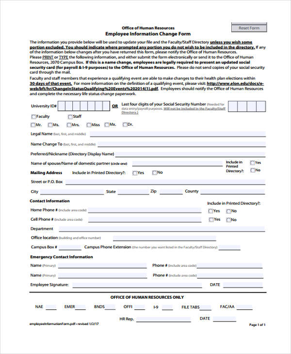 employee information change form2