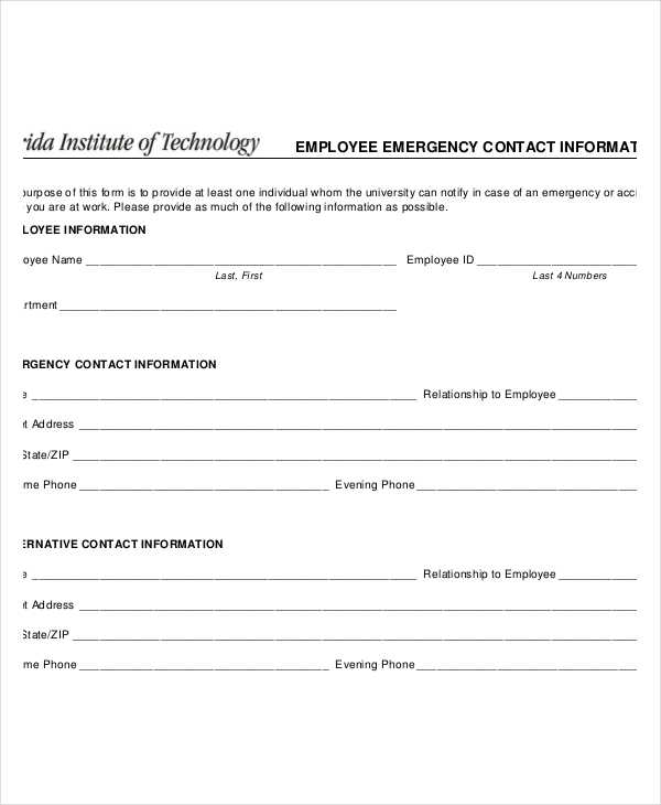 Free Emergency Contact Forms