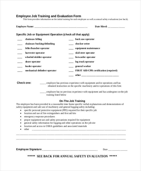 Training Evaluation Form Examples – On the Job Training Evaluation Form