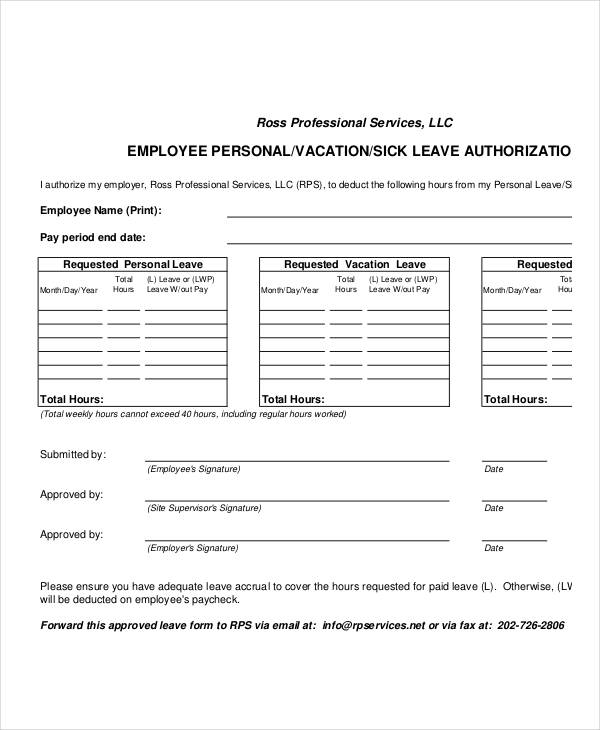 Sample Leave Authorization Form   Free Documents In Word Pdf